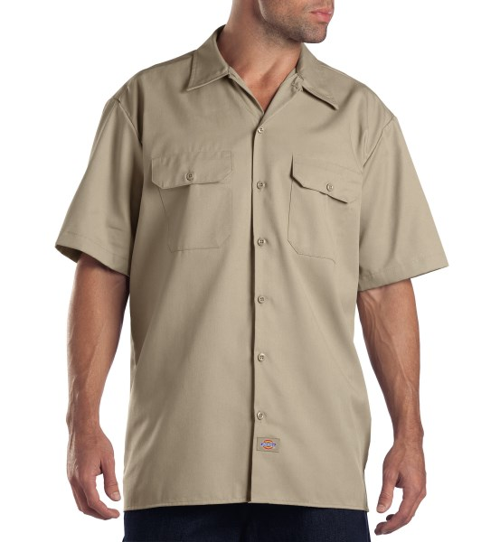Dickies Military Khaki Short Sleeve Work Shirt - Big & Tall