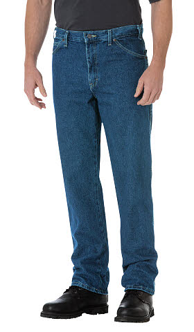 Dickies Mens Regular Straight Fit 5 Pocket Jeans - Stonewashed Indigo Blue