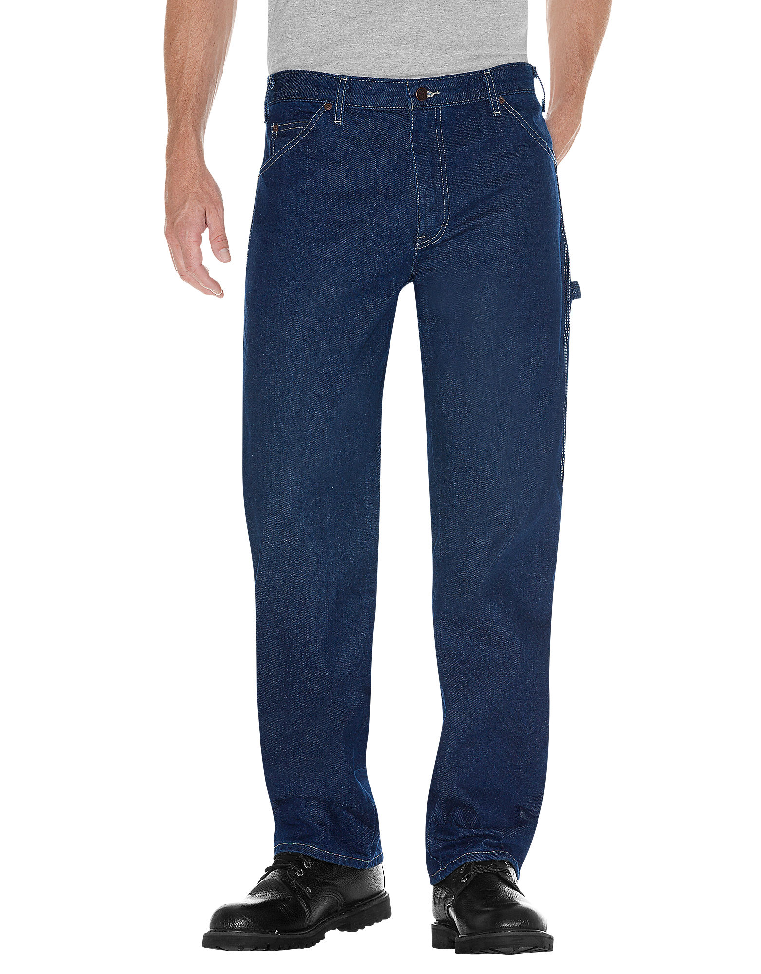 Dickies Mens Relaxed Fit Carpenter Denim Jeans - Stonewashed Indigo Blue