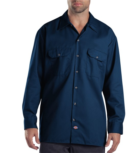 Dickies Dark Navy Long Sleeve Work Shirt - Big & Tall