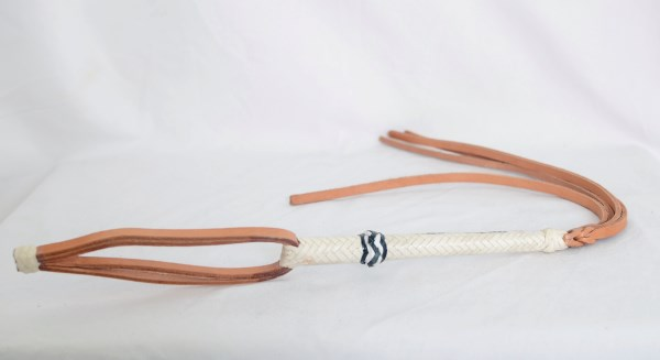 Tan Leather Quirt with Woven White Handle