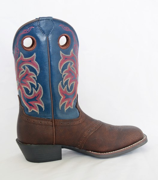 Justin Kids Brown/Blue Lasso Square Toe Cowboy Boots