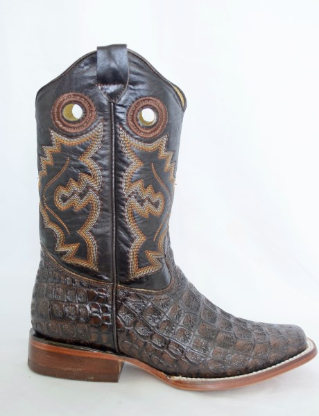 Dustin Kids Brown Square Toe Cowboy Boots with Argentinian Crocodile Print
