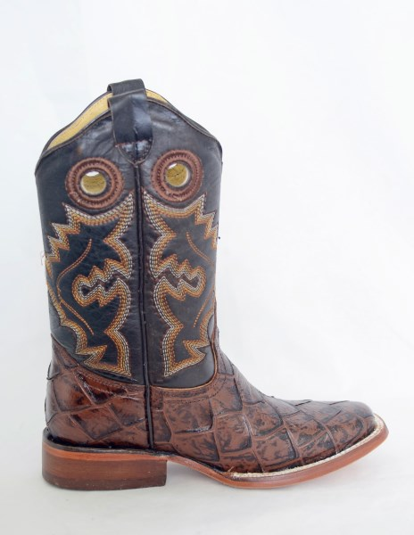 Dustin Kids Brown Square Toe Cowboy Boots with Fish Print
