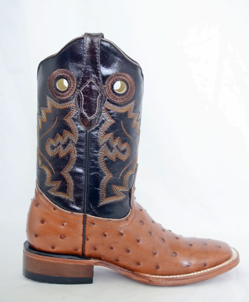 Dustin Kids Cognac/Brown Square Toe Cowboy Boots with Ostrich Print