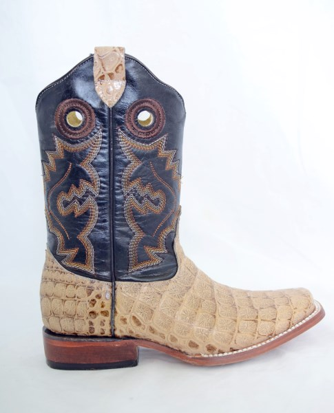 Dustin Kids Oryx/Brown Square Toe Cowboy Boots with Argentinian Crocodile Print
