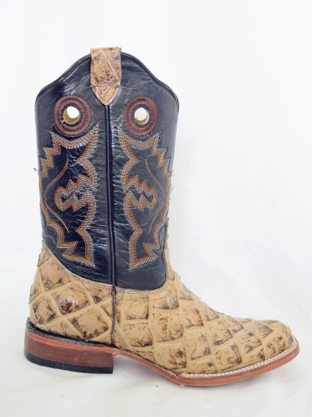 Dustin Kids Oryx/Brown Square Toe Cowboy Boots with Fish Print