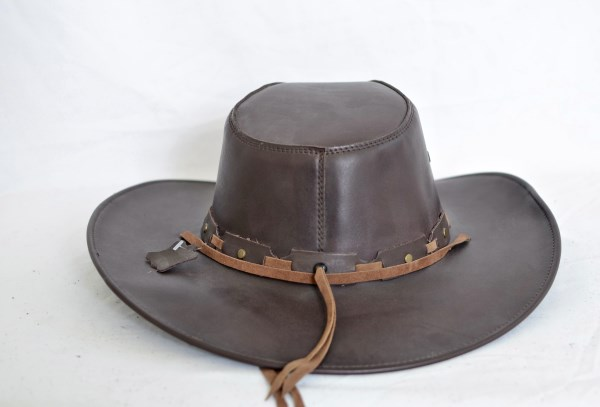 Dark Brown Leather Aussie Cowboy Hat