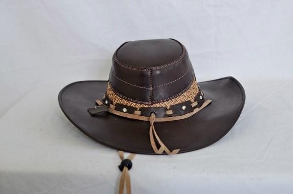 Dark Brown & Tan Leather Aussie Cowboy Hat