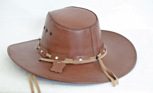 Golden Brown Leather Aussie Cowboy Hat