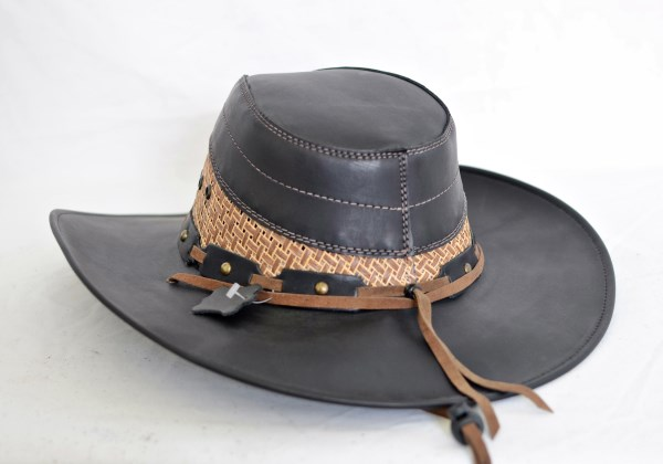 Black & Tan Leather Aussie Cowboy Hat