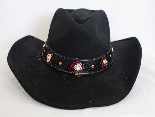 Elegant Rose Black Cowboy Hat