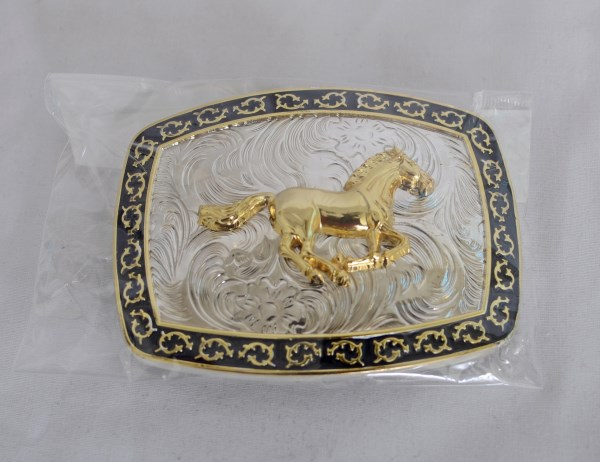 Running Horse Black, Silver, and Gold Western Belt Buckle