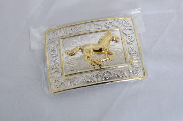 Running Horse Gold and Silver Western Belt Buckle