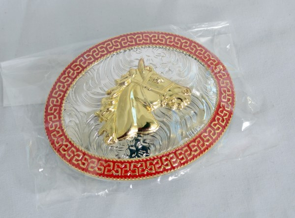 Horse Head Red, Gold and Silver Western Belt Buckle