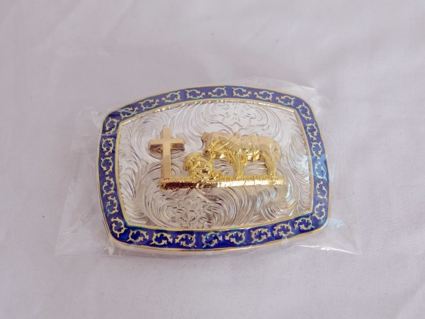 Praying Cowboy Black, Gold and Silver Western Belt Buckle