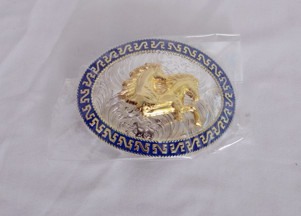 Running Horses Blue, Gold and Silver Western Belt Buckle