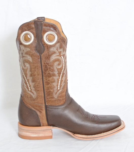 Mens Brown & Sand Square Toe Cowboy Boots