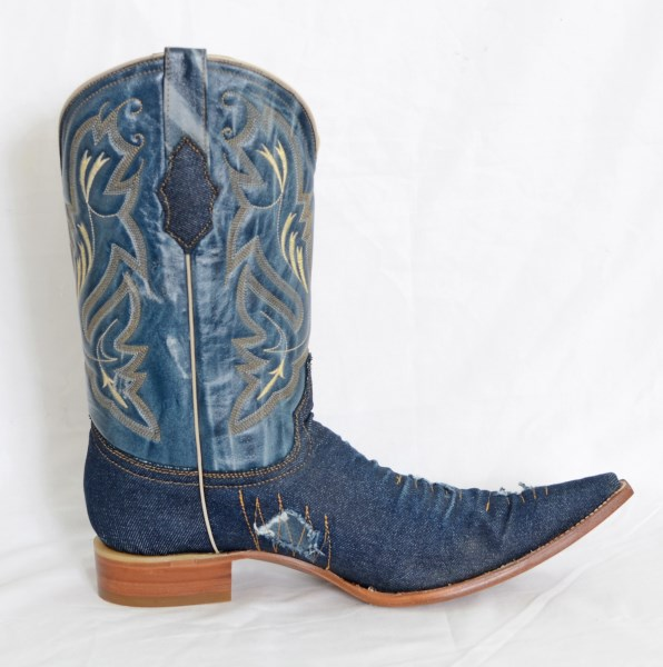 Mens Denim Pointed Toe Cowboy Boots