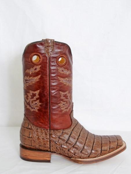 Dustin Mens Cognac Square Toe Cowboy Boots