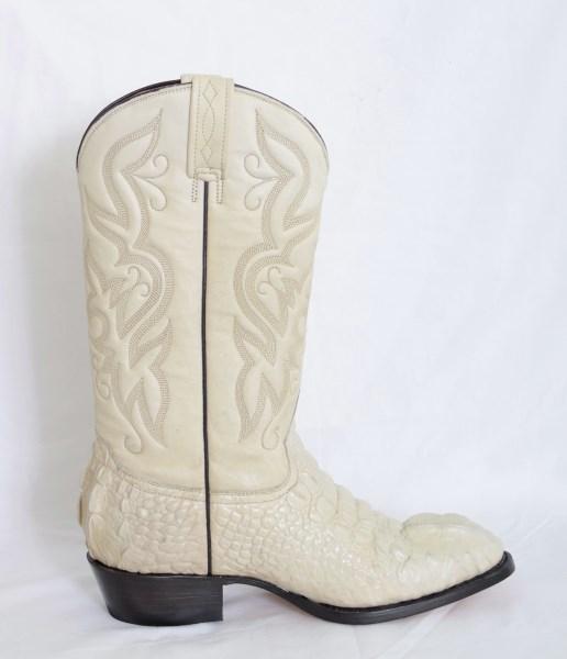 Mens Bone Round Toe Cowboy Boots