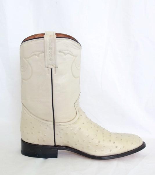 Mens Bone Narrow Round Toe Cowboy Boots
