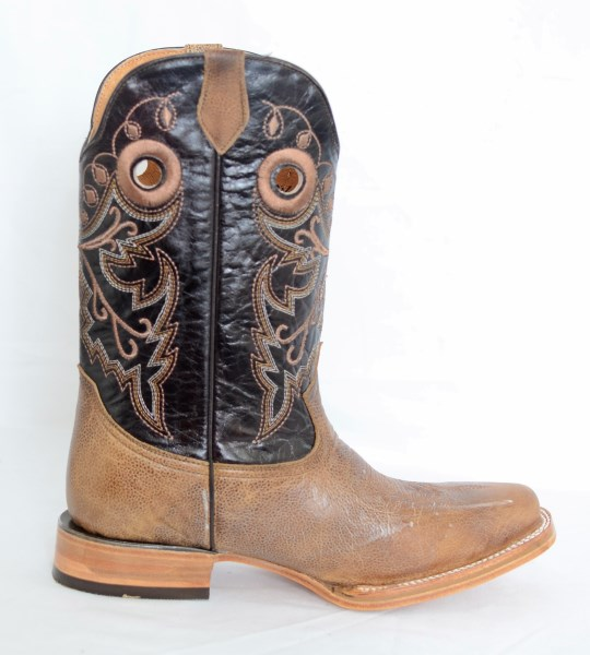 Dustin Mens Brown and Sand Square Toe Cowboy Boots