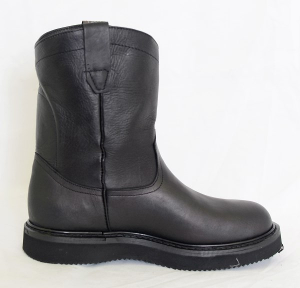 Dustin Mens Black Round Toe Work Boots with Pinstripe Sole
