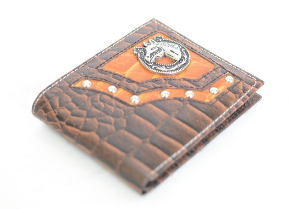 Brown & Cognac Crocodile Print Bifold Wallet with Horse Accent
