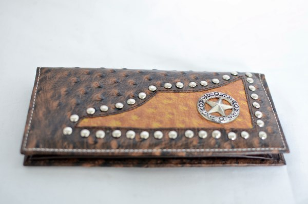 Brown & Cognac Ostrich Print Checkbook Wallet with Star Accent