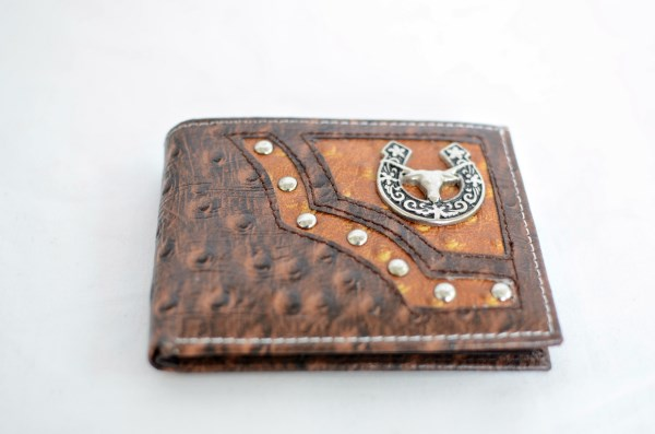 Brown & Cognac Ostrich Print Bifold Wallet with Longhorn Accent