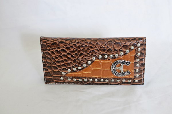 Brown & Cognac Crocodile Print Checkbook Wallet with Longhorn Accent