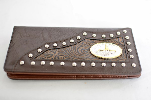 Brown Faux Leather Checkbook Wallet with Longhorn Accent
