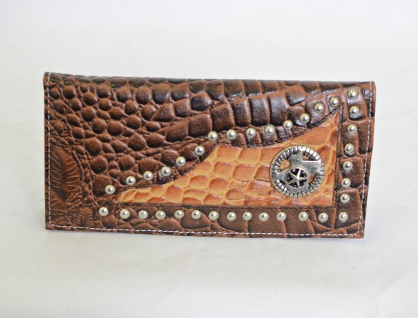 Brown & Cognac Crocodile Print Checkbook Wallet with Texas Star Accent