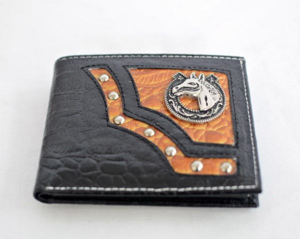 Black & Cognac Crocodile Print Bifold Wallet with Horse Accent