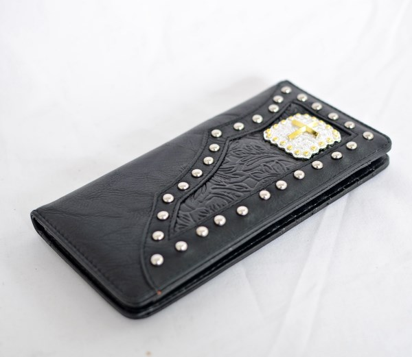 Black Faux Leather Checkbook Wallet with Cross Accent