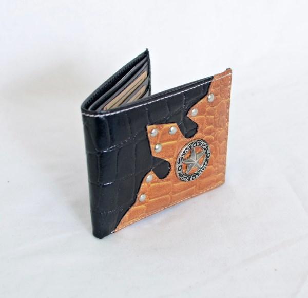 Black & Cognac Crocodile Print Bifold Wallet with Star Accent