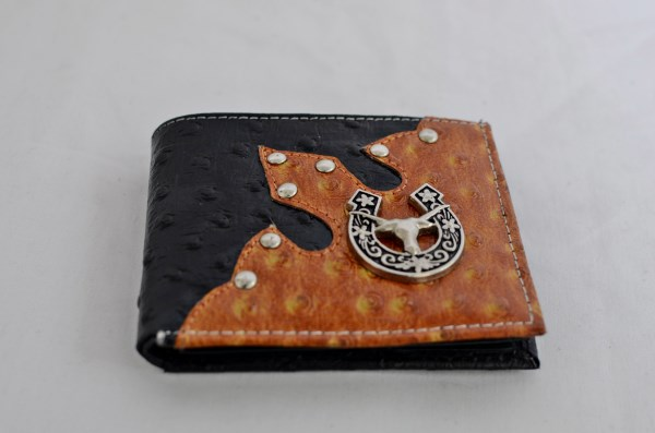 Black & Cognac Ostrich Print Bifold Wallet with Longhorn Accent