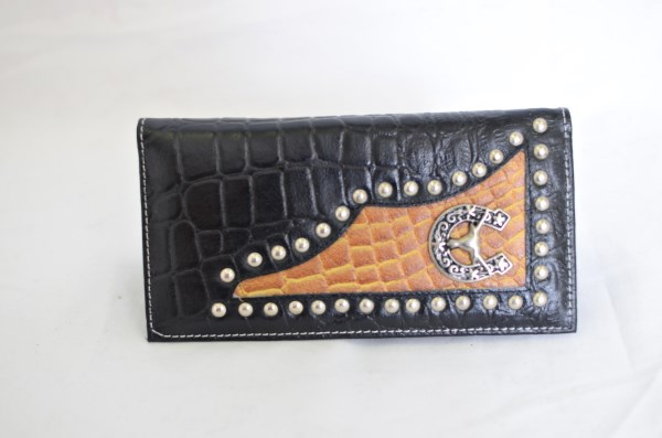 Black & Cognac Crocodile Print Checkbook Wallet with Longhorn Accent