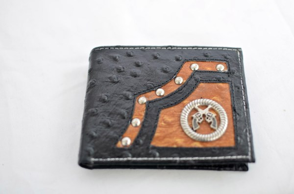 Black & Cognac Ostrich Print Bifold Wallet with Crossed Guns Accent