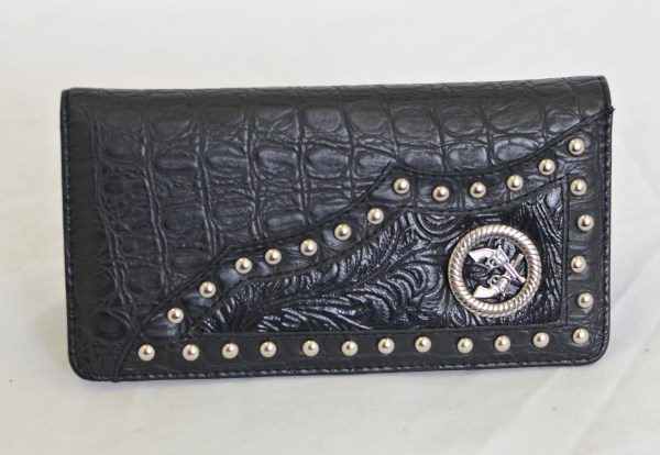 Black Crocodile Print Checkbook Wallet with Crossed Guns Accent
