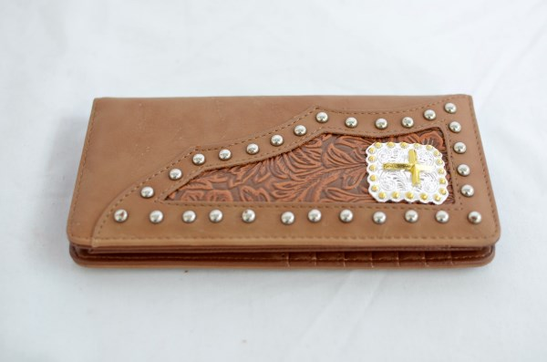 Tan Faux Leather Checkbook Wallet with Cross Accent