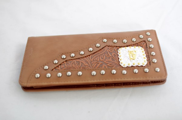 Tan Faux Leather Checkbook Wallet with Praying Cowboy Accent