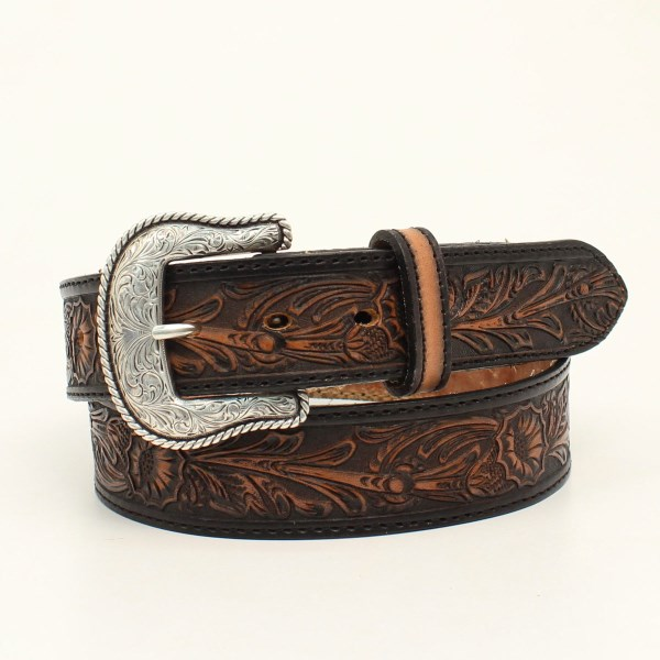 "Nocona ""Salinas"" Western Belt with Hand Dyed Floral Embossing"
