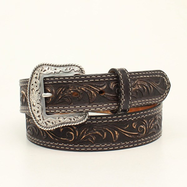 "Nocona ""Pecos"" Black Western Belt with Hand Dyed Floral Embossing"