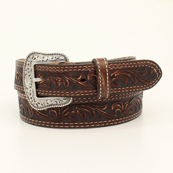 "Nocona ""Pecos"" Brown Western Belt with Hand Dyed Floral Embossing"