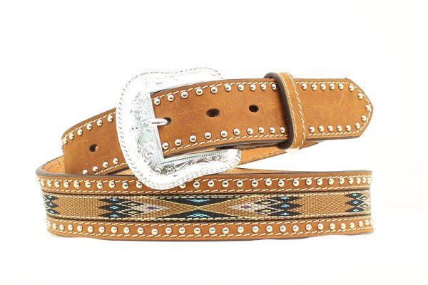 Nocona Brown Western Belt with Southwestern Ribbon Inlay