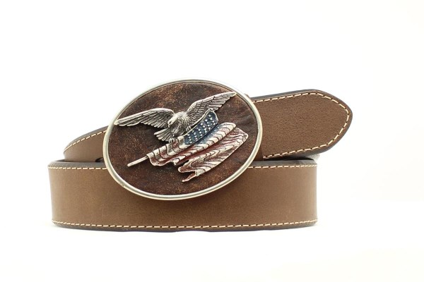 Nocona Patriotic Brown Western Belt