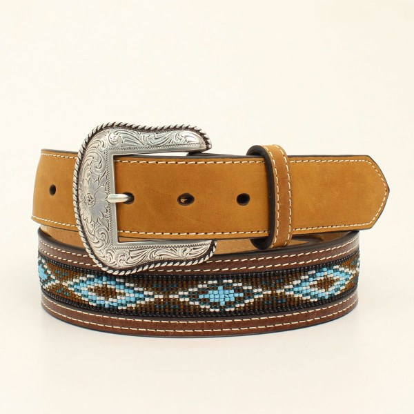 Nocona Western Tan & Brown Leather and Beaded Belt