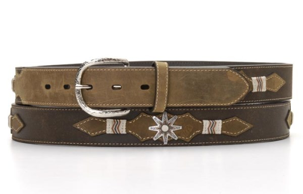 Nocona Brown Western Belt with Rawhide Accent